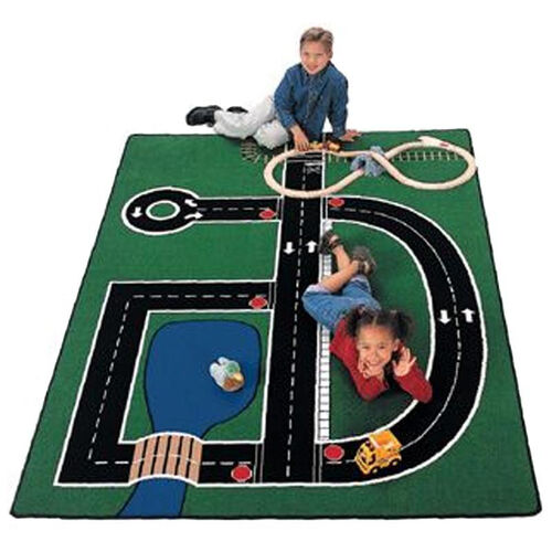 Our Neighborhood Road Map Rectangular Nylon Rug - 49