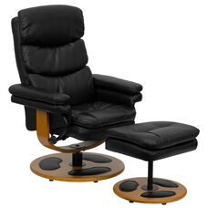 Contemporary Multi-Position Recliner and Ottoman with Wood Base in Black LeatherSoft