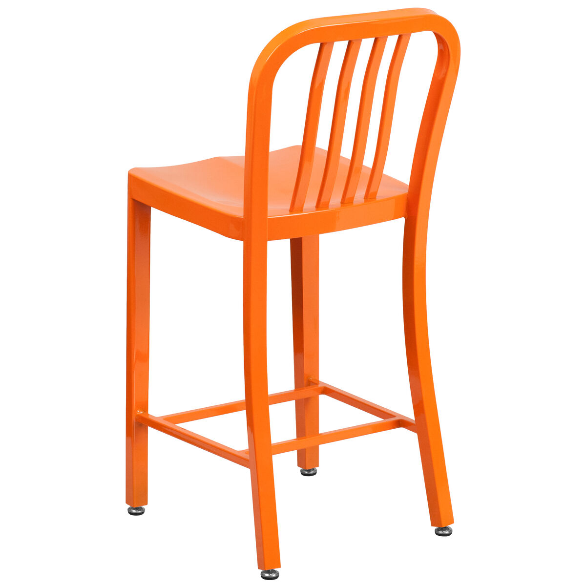 24 Quot Orange Metal Outdoor Stool Ch 61200 24 Or Gg