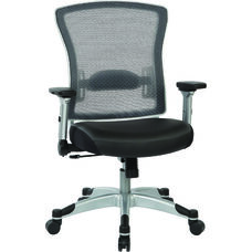 Space Professional Light AirGrid Back Office Chair withSilver Finish Flip Arms