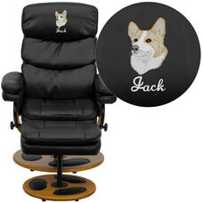 Embroidered Contemporary Multi-Position Recliner and Ottoman with Wood Base in Black LeatherSoft