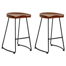 Potter Walnut Indoor Wood Counter Stool with Metal Legs - Set of 2
