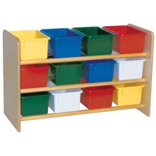 See-All Healthy Kids Plywood Storage Unit with Twelve Multi-Colored Trays - Assembled - 33