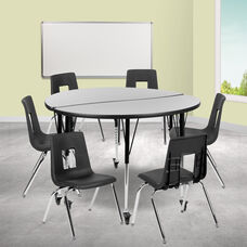"""Mobile 47.5"""" Circle Wave Collaborative Laminate Activity Table Set with 18"""" Student Stack Chairs, Grey/Black"""