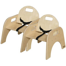 Woodie Baltic Birch Child's Seat with 3-Point Seat Belt - Set of 2 - 14''W x 12.75''D x 15.63''H