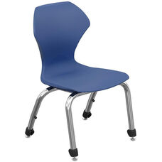 Apex Series Plastic Stack Chair with 14''H Seat - Navy Seat and Chrome Frame - 17''W x 18.5''D x 26.75''H