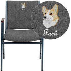 Embroidered HERCULES Series Heavy Duty Gray Fabric Stack Chair with Arms