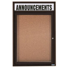 1 Door Indoor Illuminated Enclosed Bulletin Board with Header and Black Powder Coated Aluminum Frame - 24