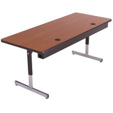 Laminate Top Computer Table with Adjustable Height Pedestal Legs and Wire Management - 36