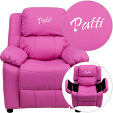 Personalized Deluxe Padded Hot Pink Vinyl Kids Recliner with Storage Arms