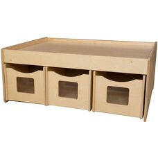 Wooden Double Sided Activity Island with 6 Rolling Storage Compartments - 44