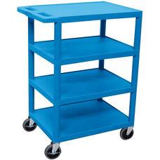 4 Flat Shelf Mobile Structural Foam Plastic Utility Cart - Blue - 24