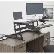 OSP Furniture Multiposition Desk Riser with Dual Lift - Black