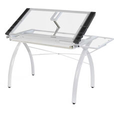 Futura Clear Tempered Glass and Steel Craft Station with Folding Shelf - White