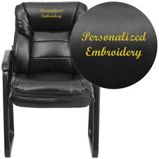 Embroidered Black Leather Executive Side Reception Chair with Sled Base