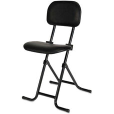 Alera Plus™ IL Series Height-Adjustable Folding Stool with Back - Black