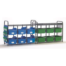 Storage Room Organizer for Leveled Literacy Program with 12 Open Tubs - Assorted Colors