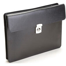 RFID Blocking Executive Underarm Portfolio Briefcase - Saffiano Genuine Leather - Black