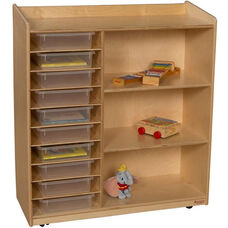 Sensorial Discovery Mobile Shelving Unit with 10 Clear Plastic Letter Trays - 36