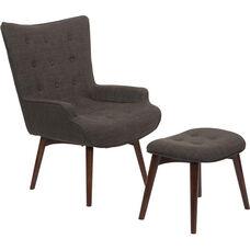 Ave Six Dalton Chair with Ottoman - Milford Asphalt and Medium Espresso
