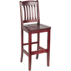 4400 Series Hardwood Frame Armless Cafe Barstool with Slatted Back and Wood Seat
