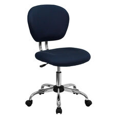 Mid-Back Navy Mesh Swivel Task Chair with Chrome Base