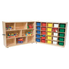 26 Cubby Birch Veneered Folding Storage Cabinet with Additional Shelving and 25 Multi-Colored Storage Trays - 48-96