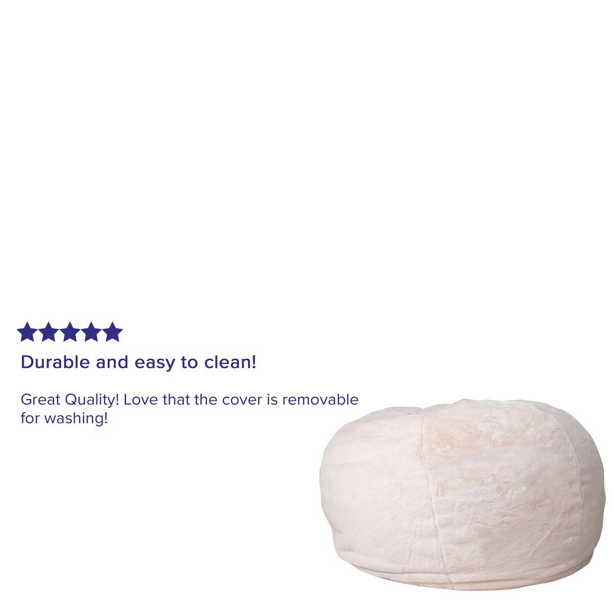 White Furry Bean Bag Chair Dg Bean Large Fur Wh Gg