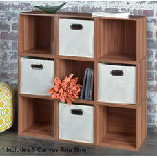 Niche Cubo Wooden Storage Case - Set of 9 Cubes and 5 Canvas Bins - Cherry