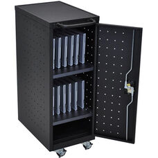 Locking Steel 12 Tablet/Chromebook Compact Charging Cart - Black - 14