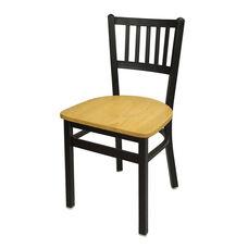 Troy Metal Slat Back Chair - Natural Wood Seat
