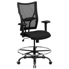 HERCULES Series Big & Tall 400 lb. Rated Black Mesh Drafting Chair with Adjustable Arms