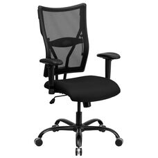 HERCULES Series Big & Tall 400 lb. Rated Black Mesh Executive Swivel Chair with Adjustable Arms
