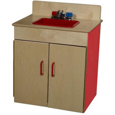 Strawberry Red Pretend Play Healthy Kids Plywood Classic Sink - Assembled - 20