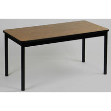 High Pressure Laminate Rectangular Library Table with Black Base and T-Mold - Medium Oak Top - 24
