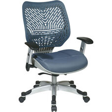 Space REVV Self Adjusting SpaceFlex Back and Mesh Seat Managers Chair with Adjustable Arms - Blue Mist
