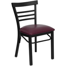 HERCULES Series Black Three-Slat Ladder Back Metal Restaurant Chair - Burgundy Vinyl Seat
