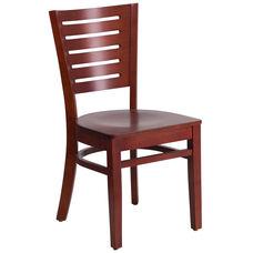 Mahogany Finished Slat Back Wooden Restaurant Chair