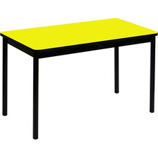 High Pressure Laminate Rectangular Lab Table with Black Base and T-Mold - Yellow Top - 36