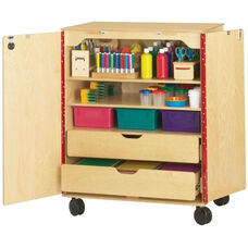 Wooden Mobile Locking Supply Cabinet - 36