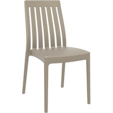Soho Modern Outdoor Resin Stackable High Back Dining Chair - Dove Gray