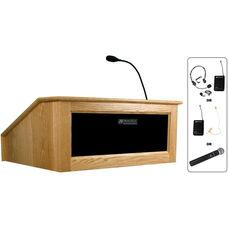 Solid Hardwood Victoria Wireless 150 Watt Sound and Hand Held Mic Tabletop Lectern - Oak Finish - 27