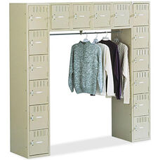 Tennsco Sixteen Box Storage Lockers with Coat Bar - Sand