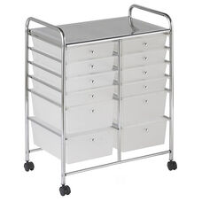 12 Drawer Mobile Organizer with Chrome-Plated Top Shelf and White Pullout Drawers - 4 Large
