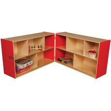 Wooden 10 Compartment Double Folding Mobile Storage Unit - Strawberry - 96