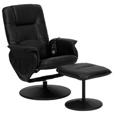 Massaging Multi-Position Recliner with Deep Side Pockets and Ottoman with Wrapped Base in Black LeatherSoft
