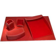 Colors Faux Leather 5 Piece Office Organizing Desk Set - Rossa Red