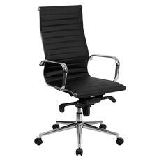 High Back Black Ribbed Leather Executive Swivel Office Chair with Knee-Tilt Control and Arms