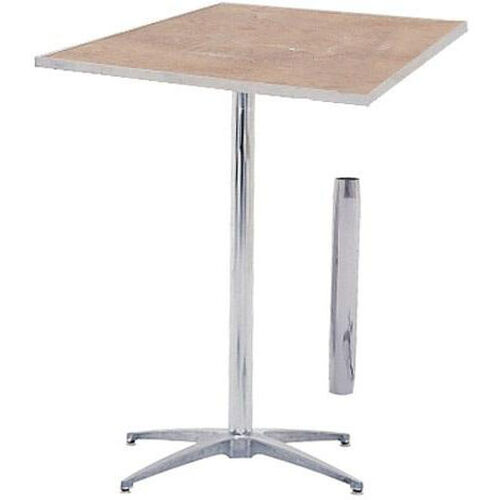 Our Standard Series Square Pedestal Table with Height Adjustable Columns, Chrome Plated Steel Column, and Plywood Top - 30