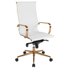 High Back White Ribbed Leather Executive Swivel Office Chair with Gold Frame, Knee-Tilt Control and Arms